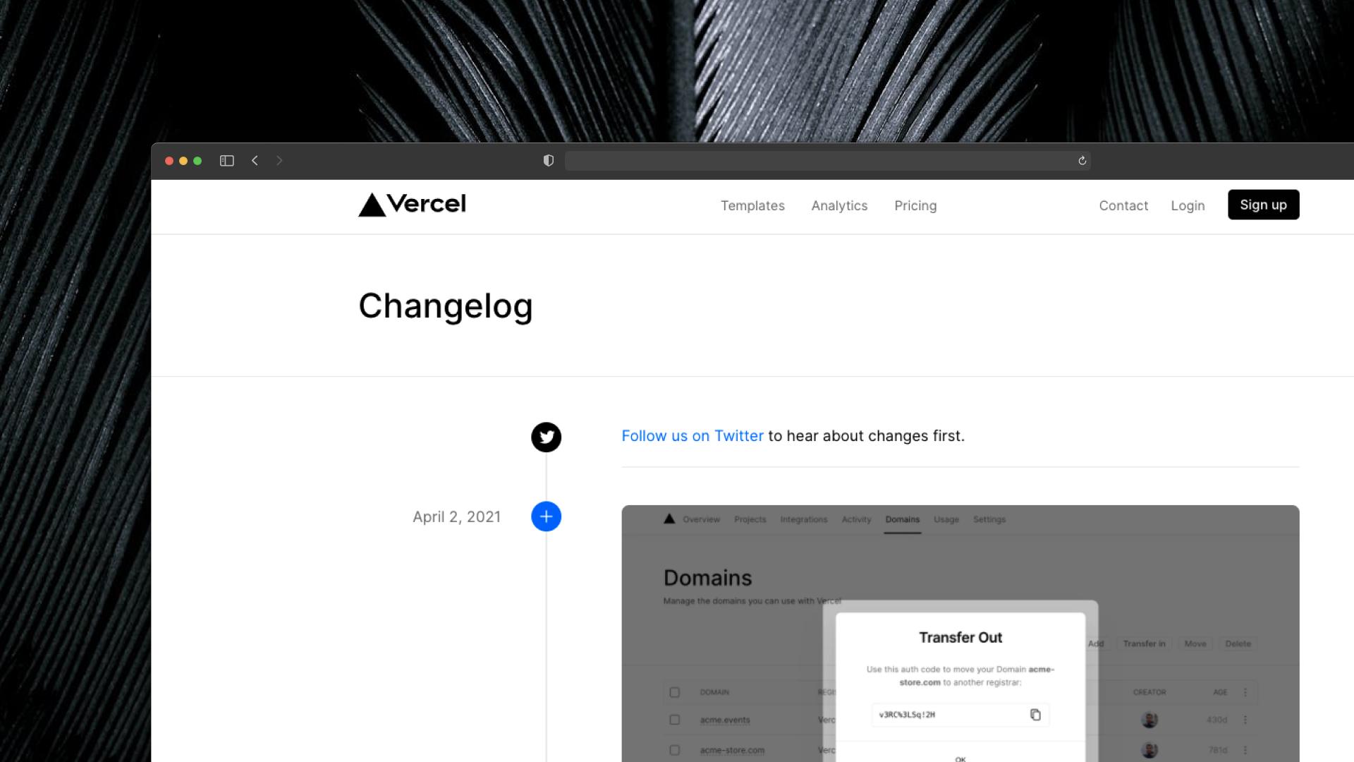 Vercel Changelog Screenshot