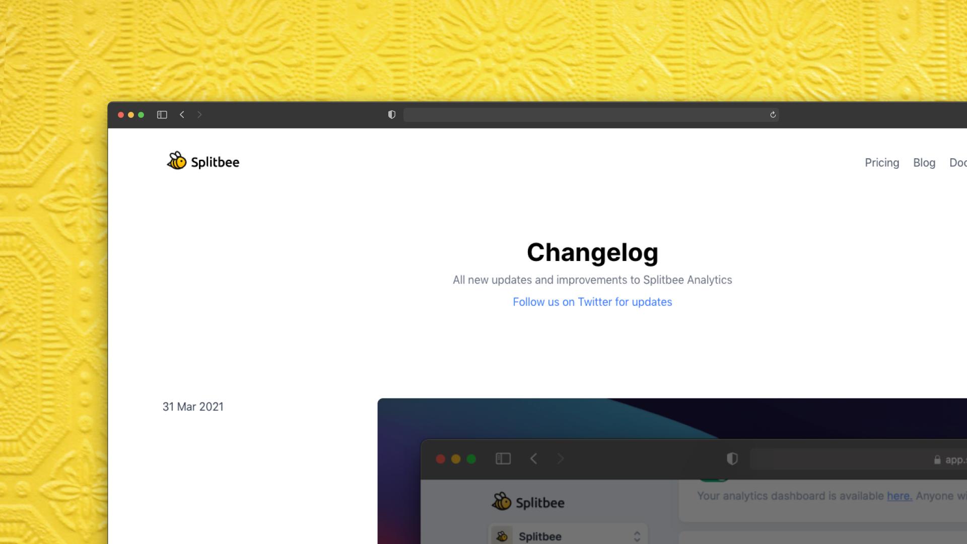 Splitbee Changelog Screenshot