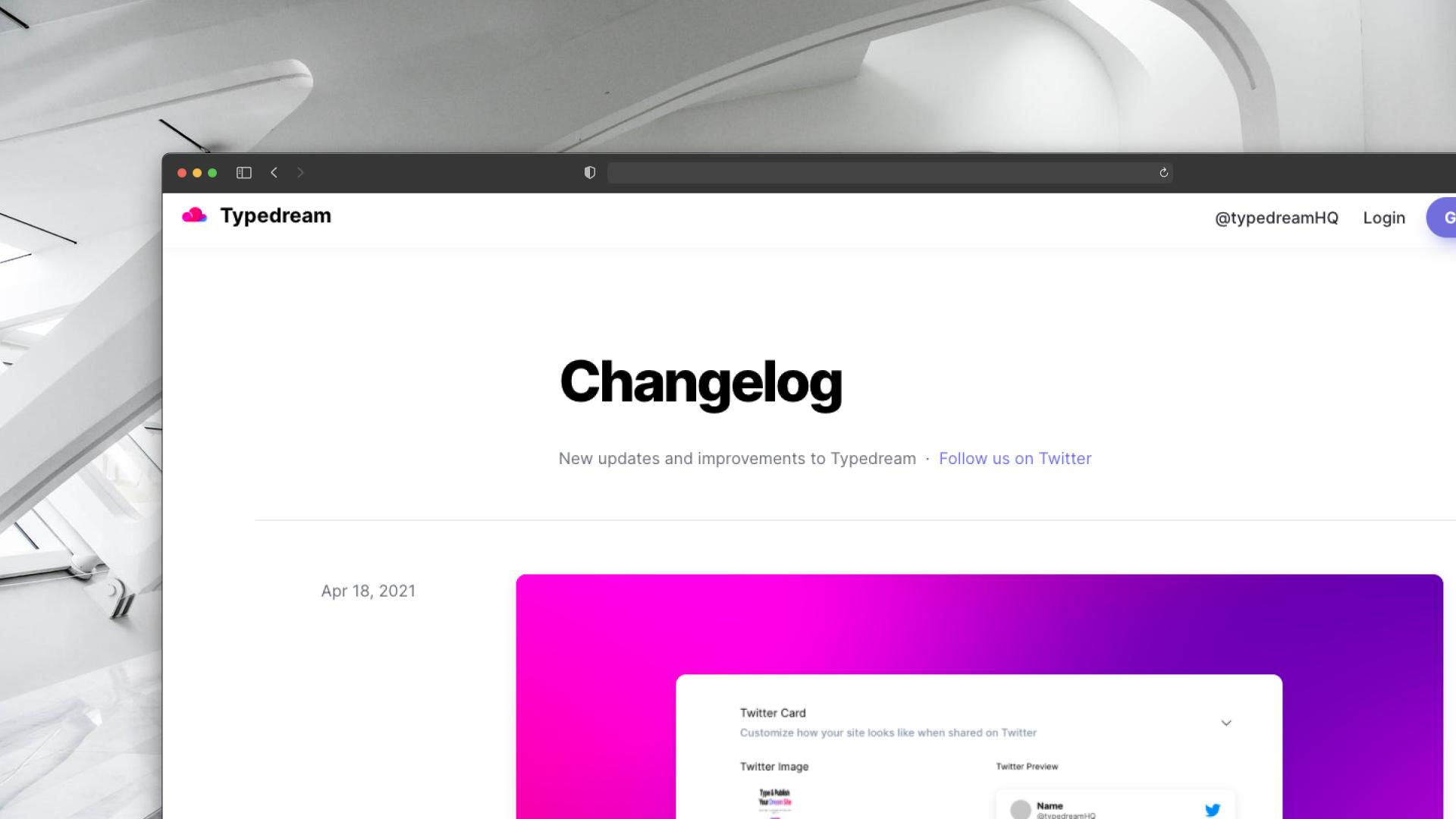 Typedream Changelog Screenshot