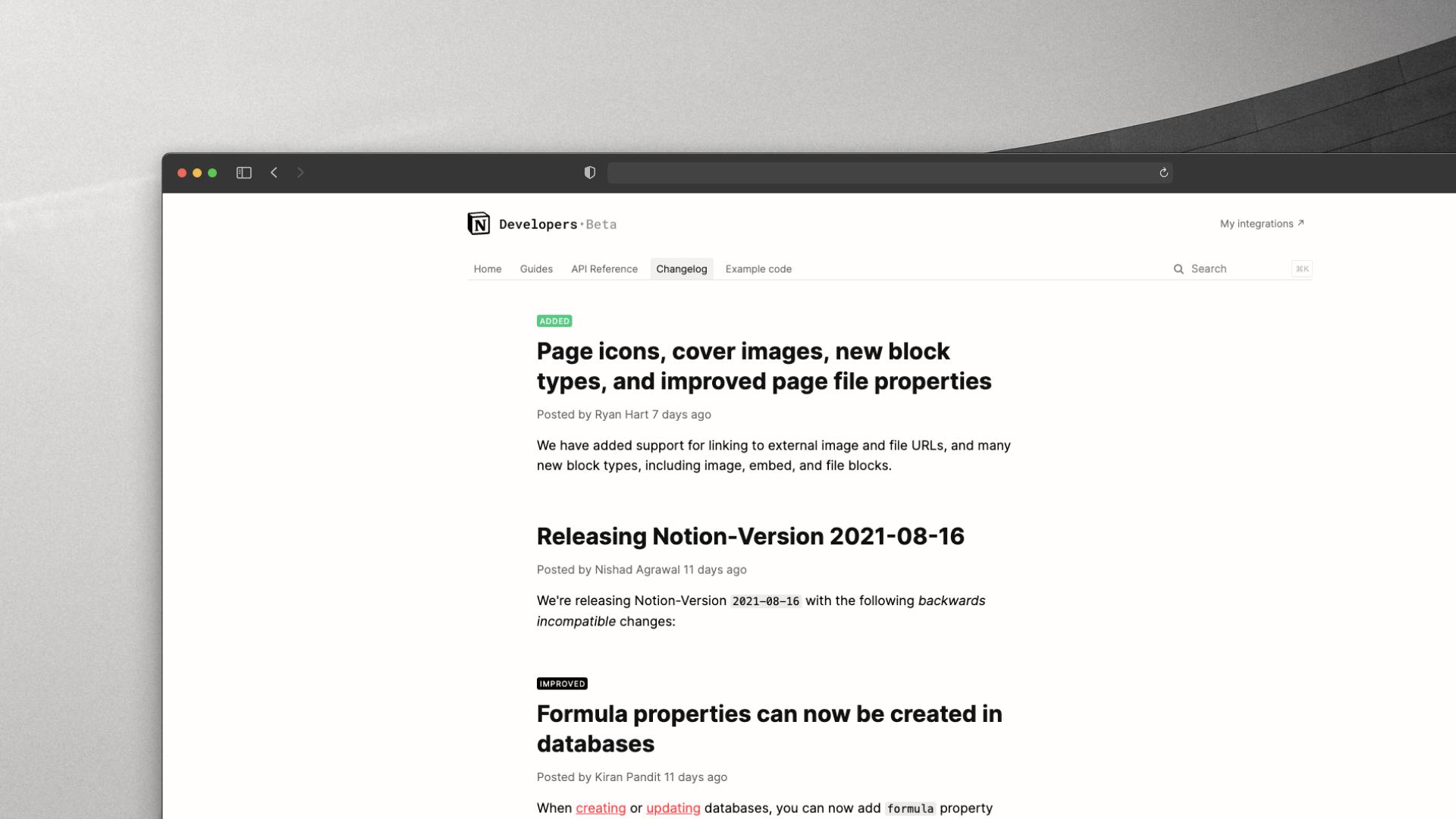 Notion Developer API Changelog Screenshot