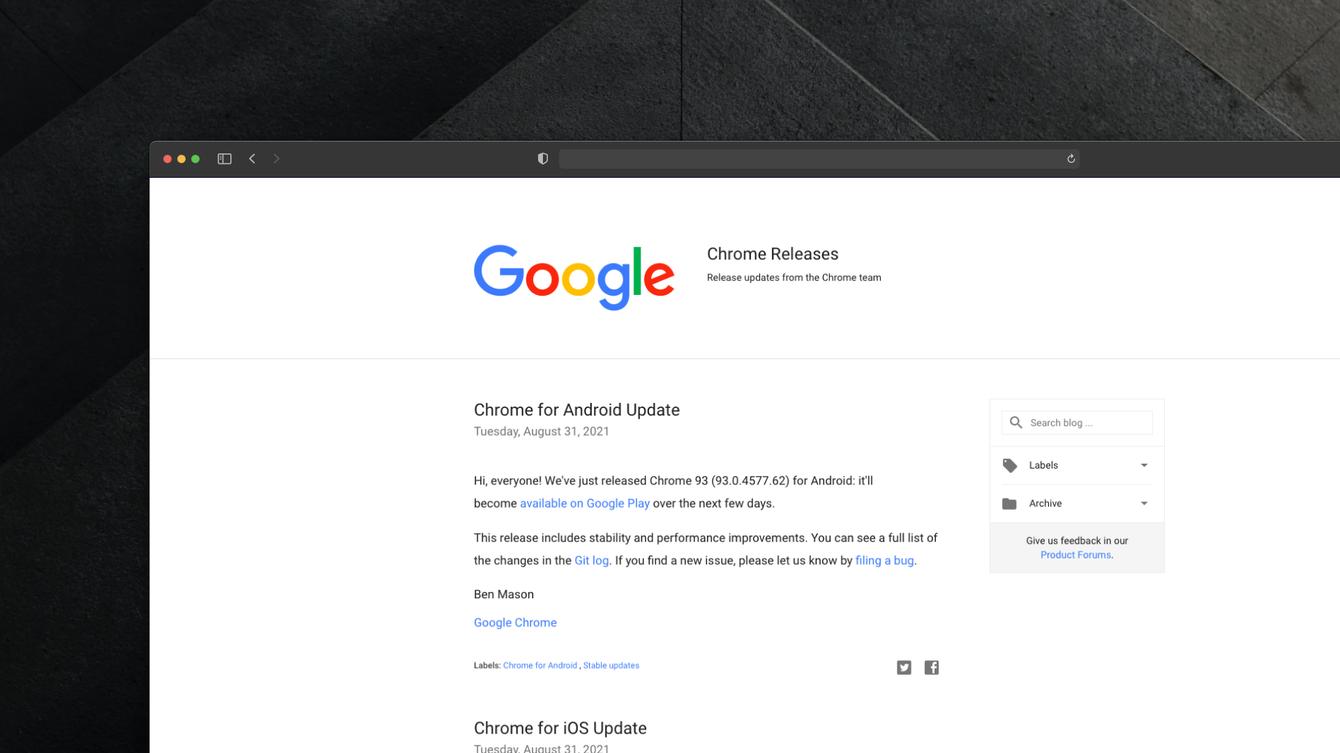 Google Chrome Releases Changelog Screenshot