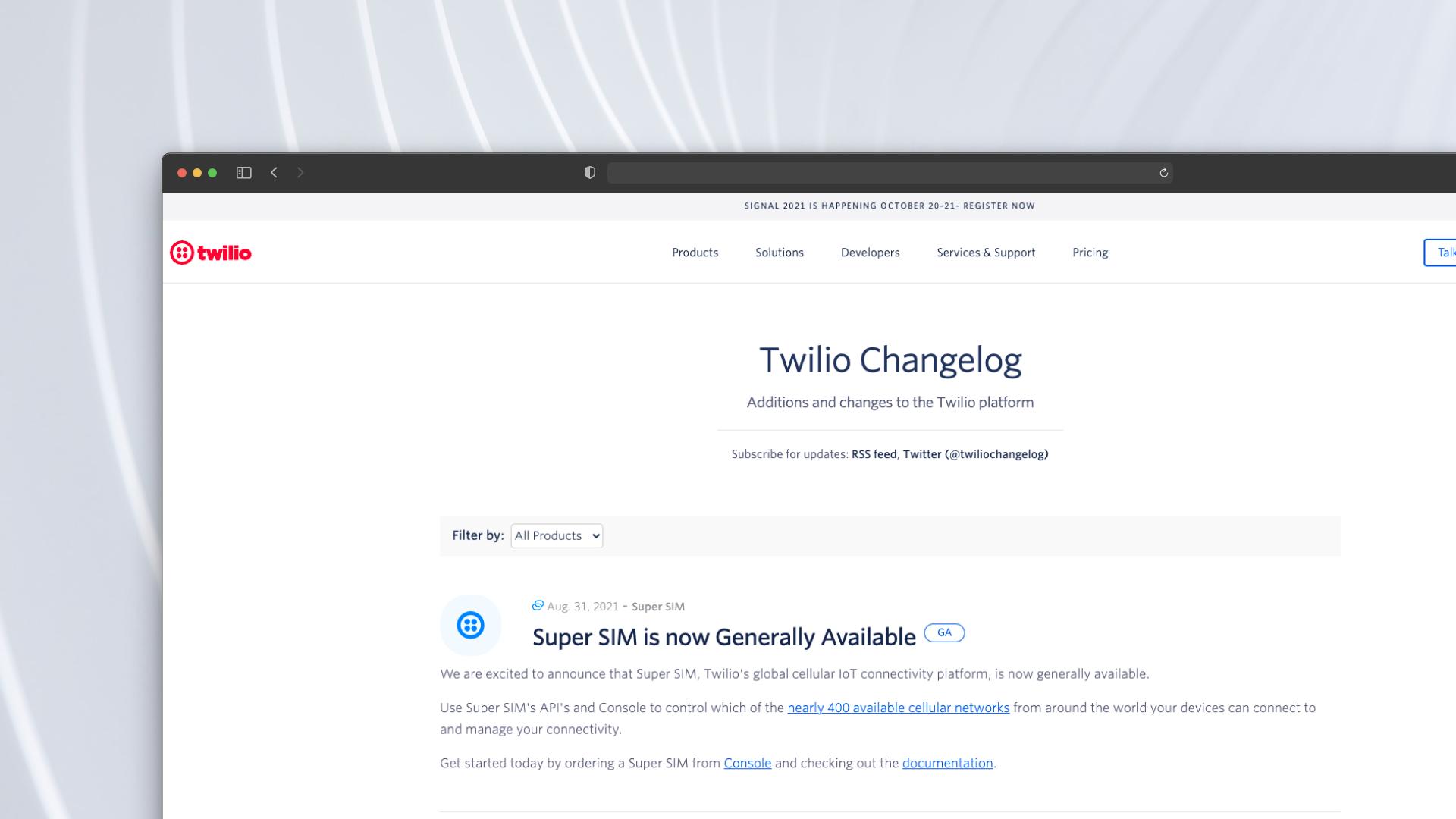 Twillio Changelog Screenshot