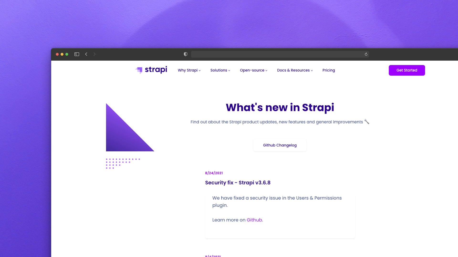 Strapi Changelog Screenshot