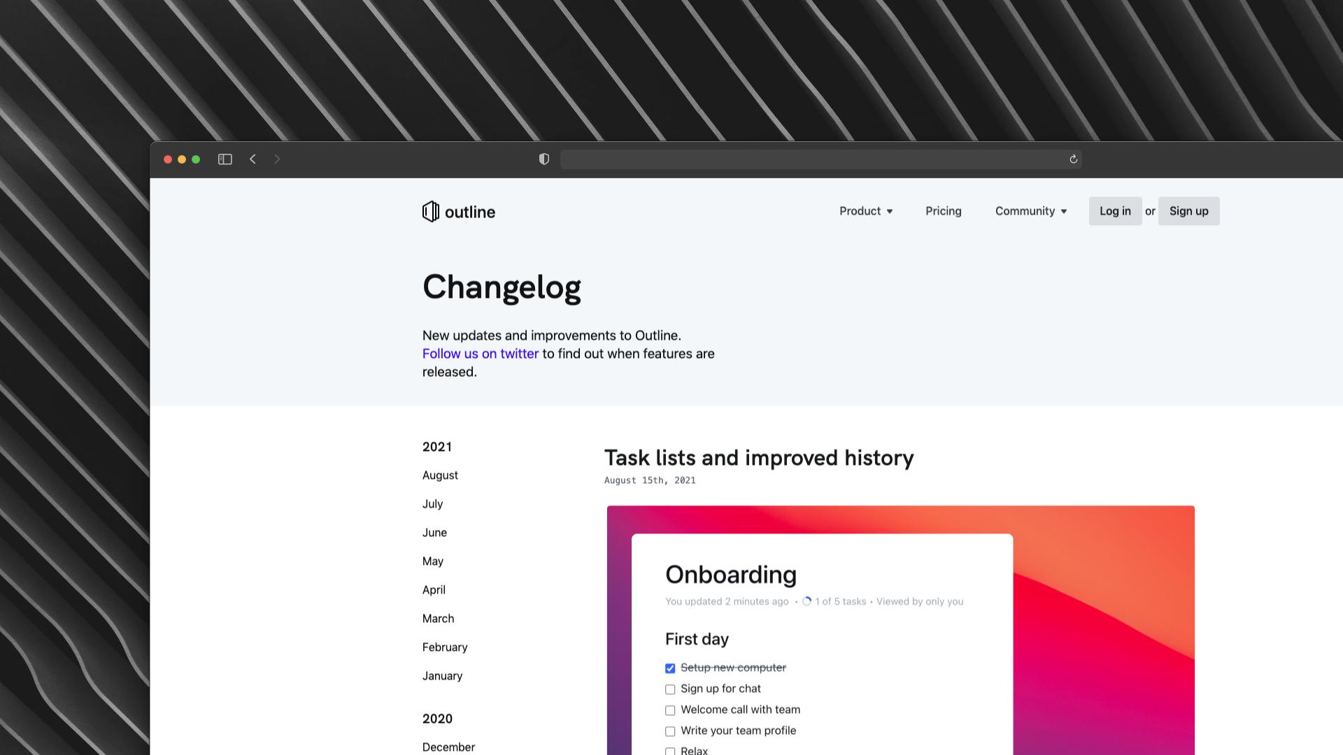 Outline Changelog Screenshot