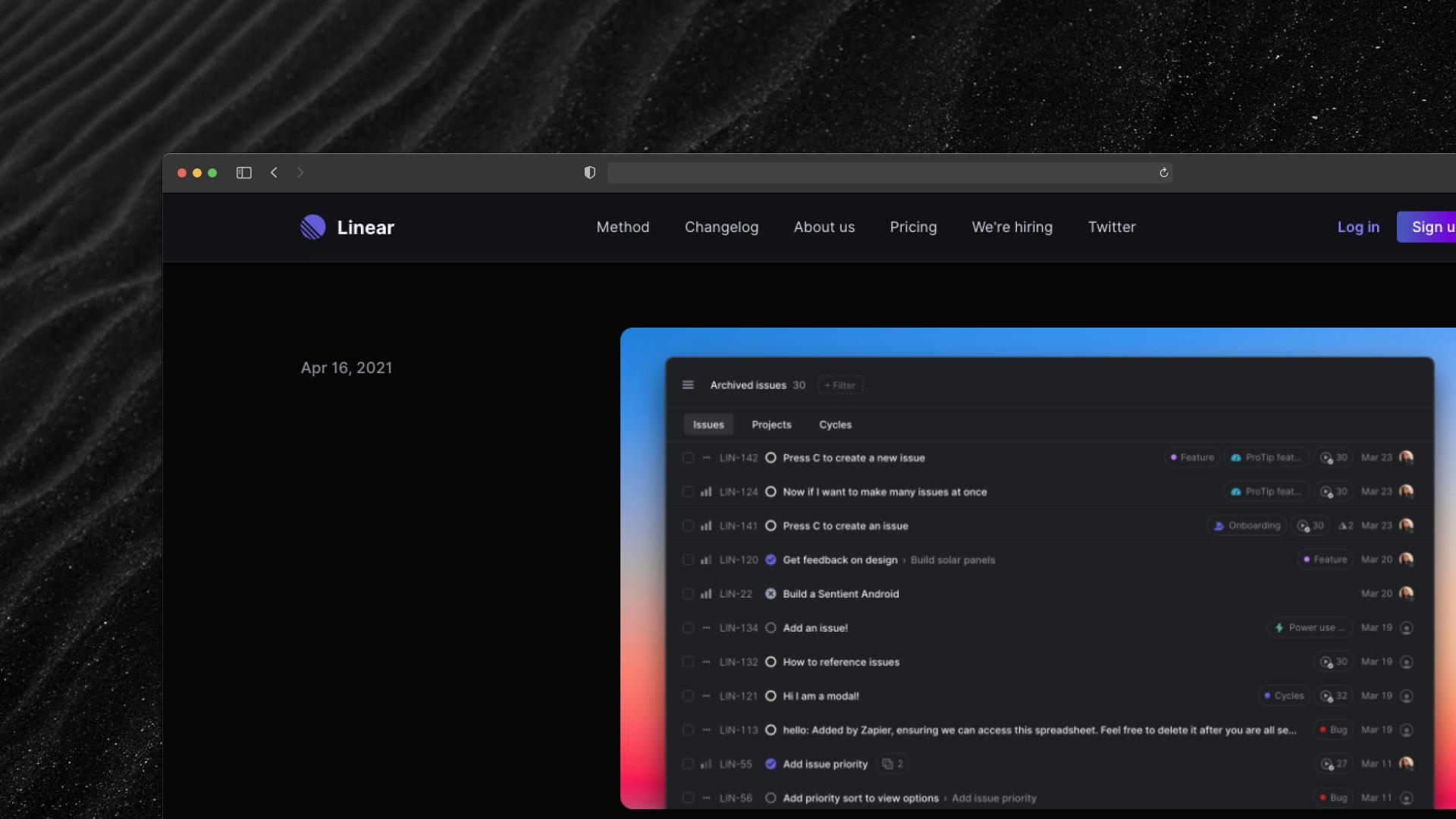 Linear Changelog Screenshot