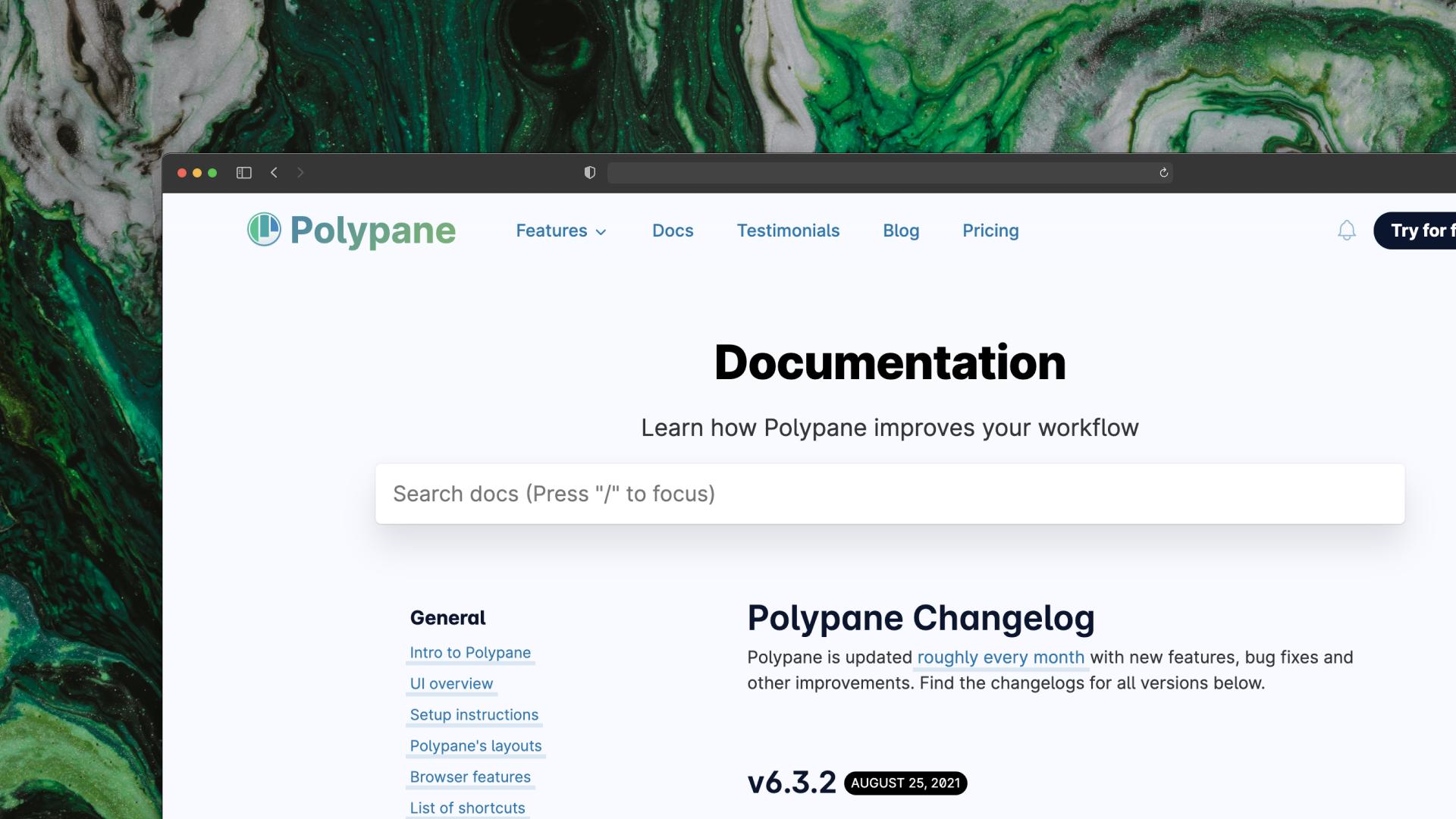 Polypane changelog screenshot