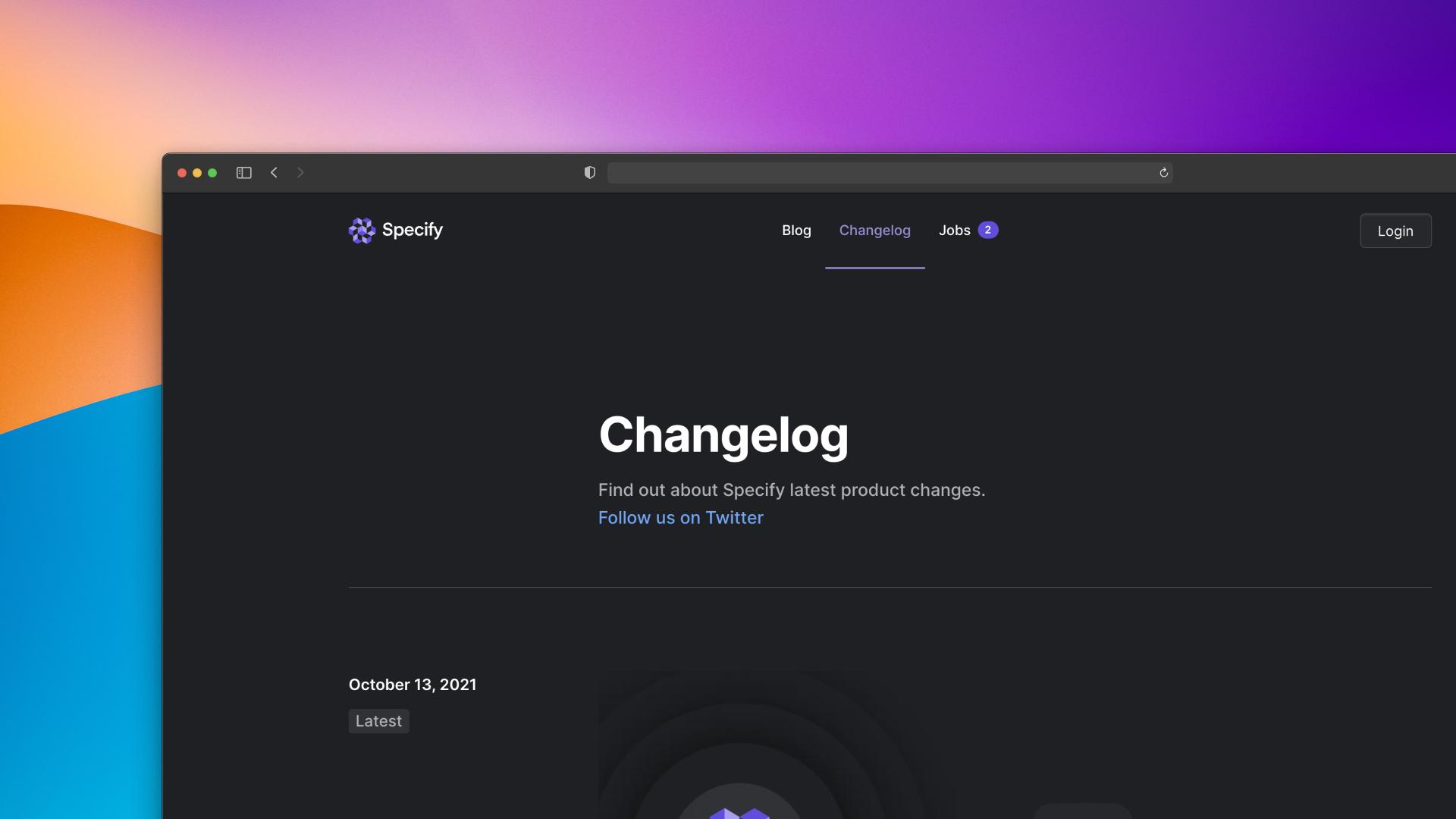 Specify App changelog screenshot