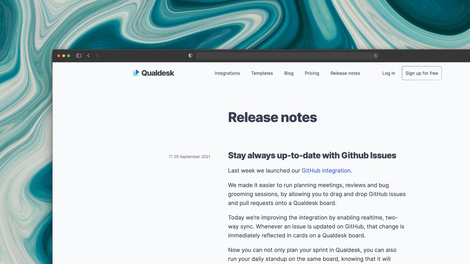 Qualdesk changelog screenshot