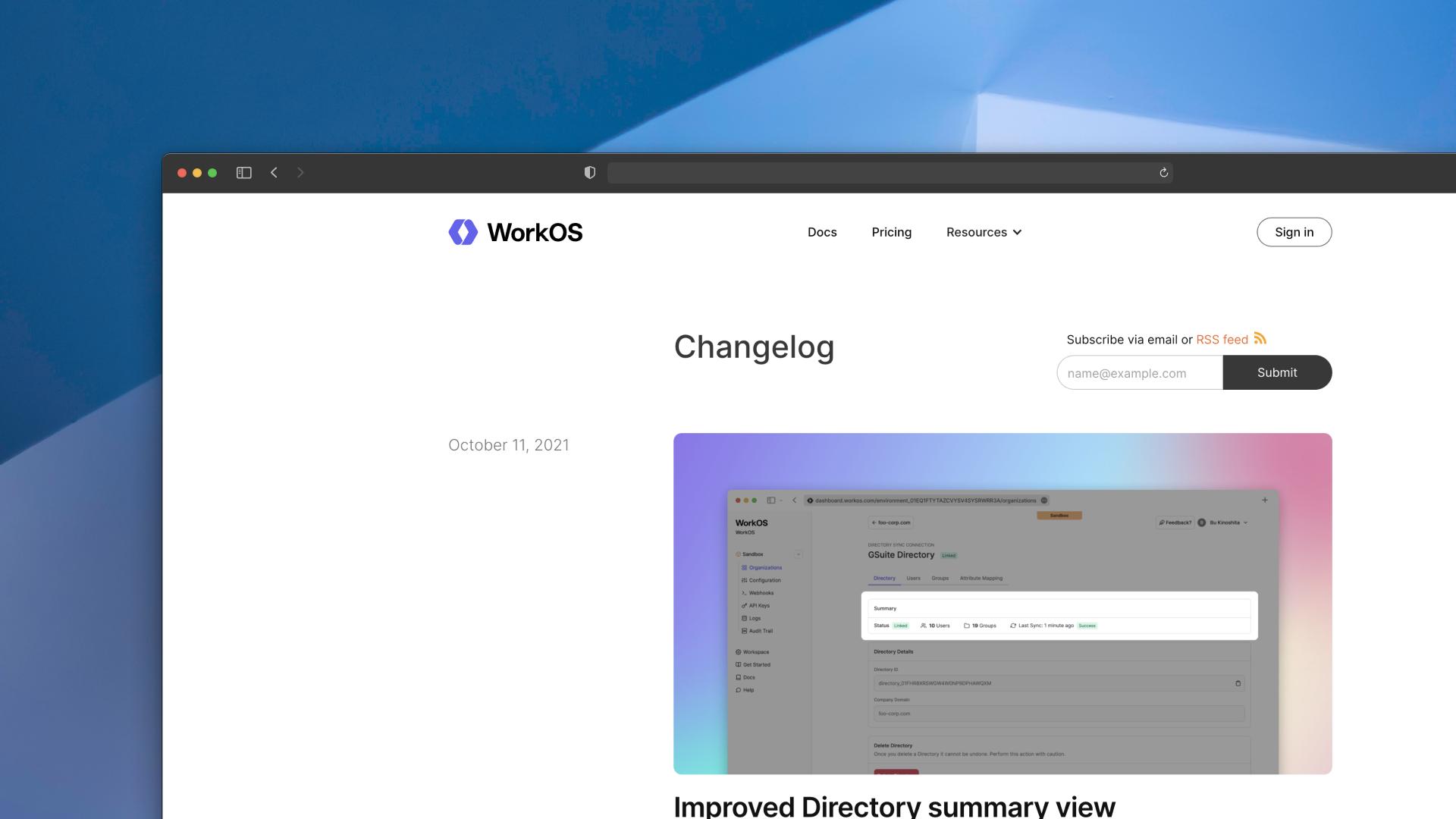 WorkOS changelog screenshot