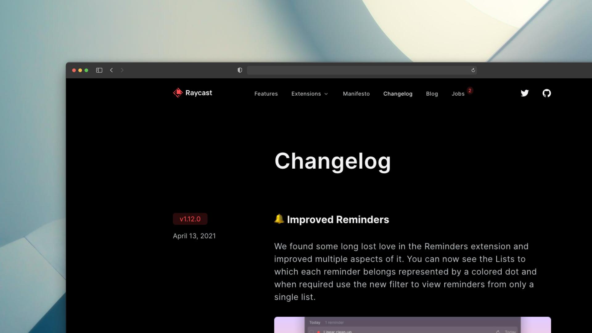 Raycast Changelog Screenshot