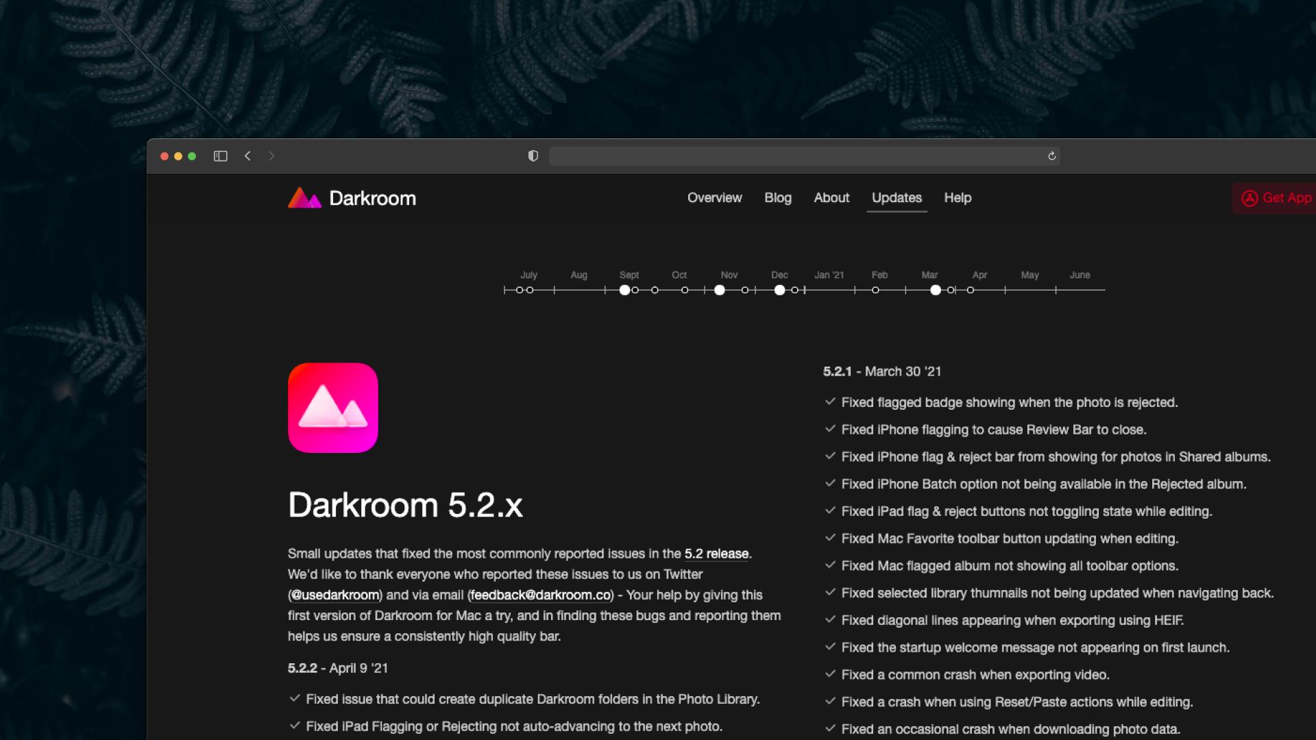 Darkroom Changelog Screenshot